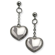 Women's Stainless Steel Heart Dangle Post Earrings Jewelry Available Exclusively at Gemologica.com