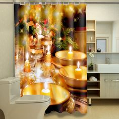 Polyester Waterproof Washable Bath Curtain Christmas Candlelight printed Mildewproof Bathroom Shower Curtain +12PCS C Type Hooks #Affiliate