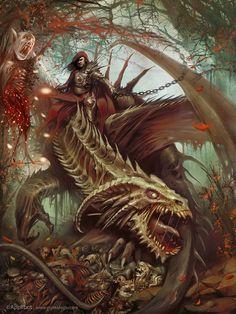 Undead dragon rider by Yigit Koroglu http://www.yigitkoroglu.com/ http://yigitkoroglu.deviantart.com/