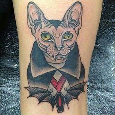 Thinking of getting a little dracula charlie tattoo! Cat Portrait Tattoos, Wolf Tattoos, Animal Tattoos, Cat Tattoos, Tattoo Cat, Trendy Tattoos, Unique Tattoos, Beautiful Tattoos, Sphinx Tattoo