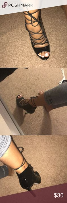 Black strap up heels Paten Leather material. UK size 7, US size 9. ASOS Shoes Heels
