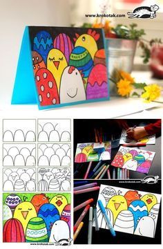 Easter Crafts - How to make an easy Easter postcard Easter Arts And Crafts, Easter Projects, Spring Crafts, Classe D'art, Art For Kids, Crafts For Kids, Tarjetas Diy, Easter Activities, Children Activities