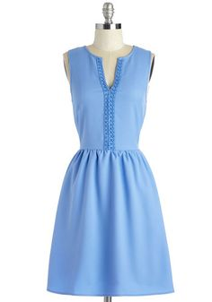 The Final Flourish Dress - Mid-length, Woven, Blue, Solid, Casual, Sundress, A-line, Sleeveless, Spring