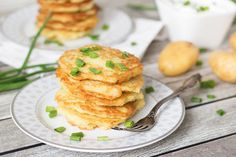 These Polish Potato Pancakes are melt-in-your-mouth good and require only few ingredients to make. Topped with sour cream and chives!