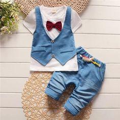 Fashion Kids clothes suit Baby Boy T-shirt Top+Short pants outfit set children gentleman Clothing Sets