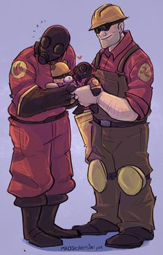Commission- Pyro and Engie by MadJesters1.deviantart.com on @DeviantArt