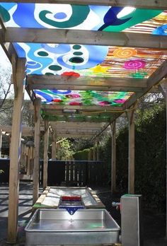 Water play under a beautiful pergola.- Oh, for an outdoor classroom! Outdoor Learning Spaces, Outdoor Play Areas, Outdoor Fun, Outdoor Spaces, Outdoor School, Preschool Playground, Sensory Garden, Backyard Play, Backyard Games
