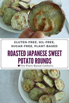 Japanese Sweet Potatoes are so sweet and yummy -- I can't stop eating them! These Roasted Japanese Sweet Potato Rounds have become a weekly (if not daily) staple for me. They are so easy to make and delicious to eat. Sweet Potato Recipes, Baby Food Recipes, Whole Food Recipes, Vegan Recipes, Plant Based Snacks, Plant Based Diet, Salt Free Recipes, Slow Cooker Balsamic Chicken, Vitamin E