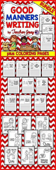 Writing : Writing : Writing : Writing Writing Prompts : Coloring Pages Writing about Good Manners No Prep Perfect for Writing Stations Bundle   This unit includes 10 pages of Writing Prompts for Good Manners and 9 coloring pages.