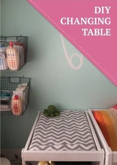 How cute is this DIY changing table with wire baskets for organization!