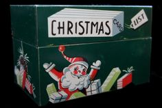 Vintage Christmas Card List Recipe Box by SycamoreVintage on Etsy, $10.00