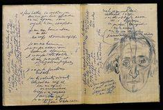 Antonin ARTAUD. Cahier, avec autoportrait au couteau, mars 1947