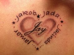 modele tatouage 5 prenoms avec coeur et etoiles