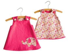 PDF PATTERN. INSTANT DOWNLOAD Reversible A ine Dress pattern for girls and babies with elephant applique of 3 defferent sizes. Level: Beginner 1/2