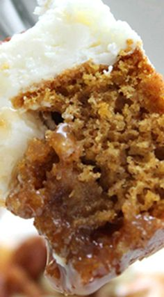 Pumpkin Caramel Poke Cake ~ An amazing fall dessert... Easy to make since it starts with a boxed cake mix.