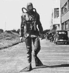 One of the first British Navy divers