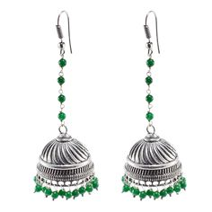 Silvestoo India Charming Green Beads Jhumka Jewelry-Handmade Ethnic Earrings PG-100801   https://www.amazon.co.uk/dp/B06XXHJQF1