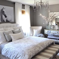 Pretty grey & white colour scheme for a bedroom!  Wall colour: Graystone by Benjamin Moore
