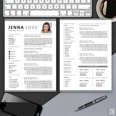 CV Template with Cover Letter | Best ResumeTemplate | Instant Download | Ms Word Design | Jenna LOVE Apply to your dream job in style with this minimal and clean resume suite, complete with matching cover letter designed for use in Microsoft Word. Includes resume template, optional second