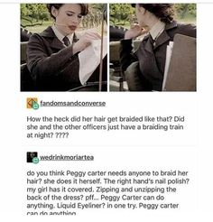This is why Peggy Carter is my idol and favorite! /// because she can do her hair and make-up? Marvel Women, Marvel Funny, Marvel Dc Comics, Marvel Heroes, Marvel Avengers, Marvel Gems, Agent Carter, Held, Marvel Cinematic Universe