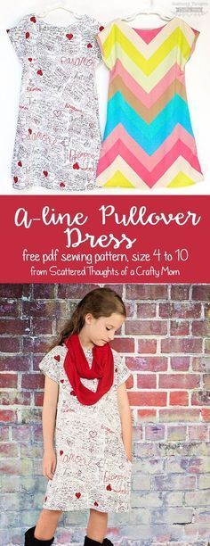 Free pdf sewing pattern for this easy to sew, A-line Pullover Knit Dress for girls, size 4 to 10.