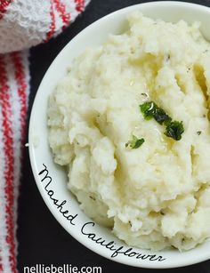 This mashed cauliflower is so delicious! It won't trick your kids into believing they're potatoes, but still good. Really good! from nelliebellie.com #mashedpoatoes #healthy