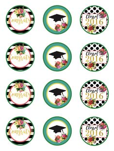 Graduation cupcake toppers use the circles for cupcakes party free 2016 graduation party printables for the girly girl negle Images