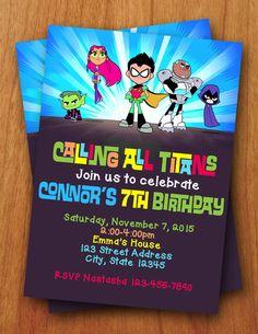 Teen Titans Go Digital Birthday Invitation by ThePurpleMonkeyShop