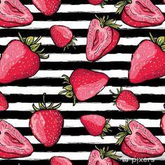 Papel Pintado Estándar Vector verano de patrones sin fisuras. fresas rojas sobre fondo de rayas acuarela blanco y negro. dibujado a mano fondo de bayas jugosas. diseño para tela, estampado textil, papel de regalo o web. - Recursos gráficos Strawberry Art, Strawberry Banana Smoothie, Anatomy, Wallpapers, Journal, Lettering, Cool Stuff, Tattoos, Flowers