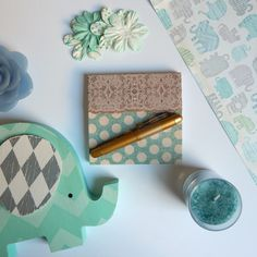Teal Inspiration. Teal Polka Dot Notepad and Elephant Home Decor from Hobby Lobby, Elephant paper from Michaels.