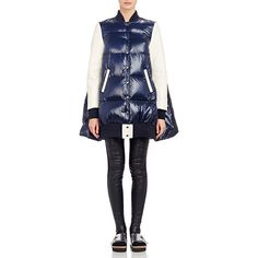 Sacai Luck Varsity Puffer Jacket Size 1 (2 US) ($1,415) ❤ liked on Polyvore featuring outerwear, jackets, blue, real leather jacket, puffer jacket, feather jacket, a line jacket and sacai luck