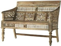 "Amazon.com: Maharaja Settee, 35""HX47""WX25""D, SANDBLASTED WHITE: Furniture & Decor"