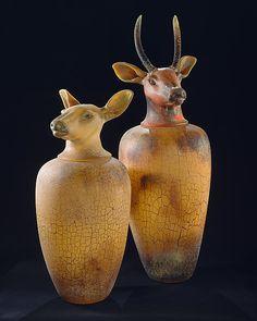 USA   William Morris (1957-), 'Canopic Jars: Elk (Spike),' 1993.  Blown glass.  Metropolitan Museum of Art.