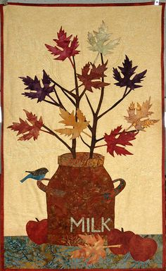 Art Quilt Fall Leaves Quilted Wall Hanging Milk Can Batik Quilt Earth tone quilt