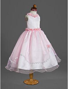 Ball Gown Jewel Tea-length Organza Over Satin Dress -