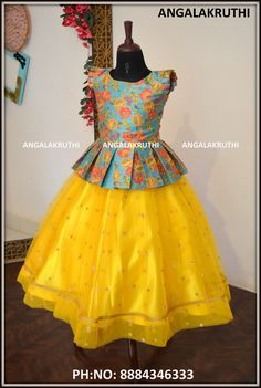 kids custom designer wear in bangalore custom designer boutique in bangalore for kids kids frocks and lehenga designs girls frock models in yellow color yellow lehenga for kids Girls Frock Design, Kids Frocks Design, Baby Frocks Designs, Baby Dress Design, Kids Lehanga Design, Kids Party Wear Dresses, Kids Dress Wear, Dresses Kids Girl, Kids Indian Wear