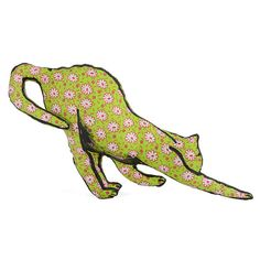 cat stretching shaped small pillow apple green red by pattihaskins, $20.00