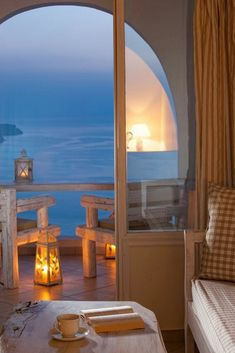 Boasting Aegean Sea and Caldera views from their furnished balcony, Athermi offers luxurious suites in Megalochori of Santorini. Santorini Greece, Mykonos, Santorini Suites, Santorini Island, Home Living, Coastal Living, Through The Window, Window View, Greece Travel
