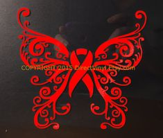 Red Awareness Ribbon Fancy Butterfly Design Window by directvinyl