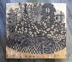"""Garden"" key block    Finished carving the key block for ""Garden""! Read more about our plans for this print & see more photos here ~ www.tugboatprintshop.com/woodcut_garden.htm"