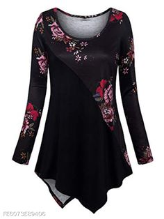 Floral Print Irregular Hem Long Sleeve Blouse can cover your body well, make you more sexy, Newchic offer cheap plus size fashion tops for women. Pleated Shirt, Leopard Print Top, Plus Size Blouses, Outerwear Women, Plus Size Women, Long Sleeve Tops, Long Tops, Blouses For Women, Plus Size Fashion