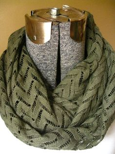 Olive Green Lace Infinity Scarf- knit, circle scarf,fall, winter, free shipping #bestofEtsy #gifts