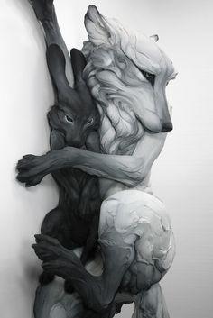 Beth Cavener. La questione sentimentale, 2012. Gres, vernice, cm. H 127 x L 88,9 x P 43,2. Installazione: Pezzo Parete