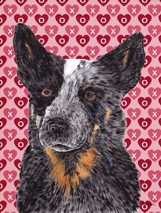 Australian Cattle Dog Hearts Love Valentine's Day 2-Sided Garden Flag