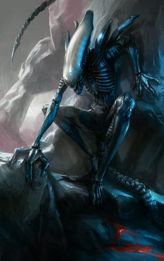 'Xenomorph' Art by Jakub Fajtanowski. Alien Vs Predator, Predator Cosplay, Predator Alien, Alien Creatures, Fantasy Creatures, Xenomorph Types, Giger Art, Alien Isolation, Rpg