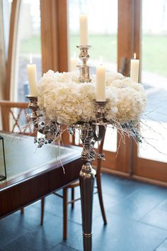 white-hydrangeas-silver-candelabra-- candelabra tall ceremony decorations by Passion for Flowers -