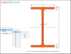 Steel Sections: USA: H Section Heavy Flange (700x500 Series) CAD Format: AutoCAD 2013  Block Type: 2D Dynamic (1x79 Lookup Tables)  Units: mm  Description:  A dynamic block made using the ANSI Tables.  The block is parametric and uses lookup tables to produce 79 different blocks. The block can be edited to user dimensions with the standard AutoCAD Properties editor Steel Properties, Cad Blocks, Autocad, Editor, 2d, Tables, The Unit, Type, Mesas