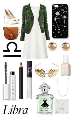 """""""Libra"""" by haley-310 ❤ liked on Polyvore featuring Uniqlo, Jimmy Choo, Kate Spade Saturday, Bobbi Brown Cosmetics, NARS Cosmetics, INIKA, Guerlain, Tuleste, Dogeared and Jules Smith"""