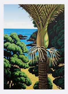 'Lottin Point Nikau' Limited edition screen print by iconic New Zealand Artist Tony Ogle. Available through Compose Art Gallery Christmas Paintings On Canvas, New Zealand Art, Nz Art, Framed Prints, Art Prints, Lino Prints, Step By Step Painting, Learn To Paint, Vintage Posters