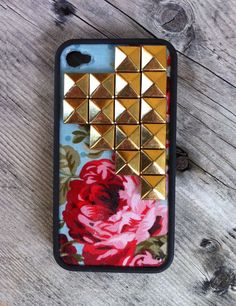 Blue Floral Gold Pyramid iPhone 4/4s Case | wildflower cases